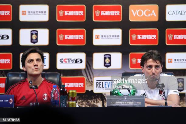 Vincenzo Montella coach of AC Milan with Riccardo Montolivo attends the a press conference ahead of the 2017 International Champions Cup football...