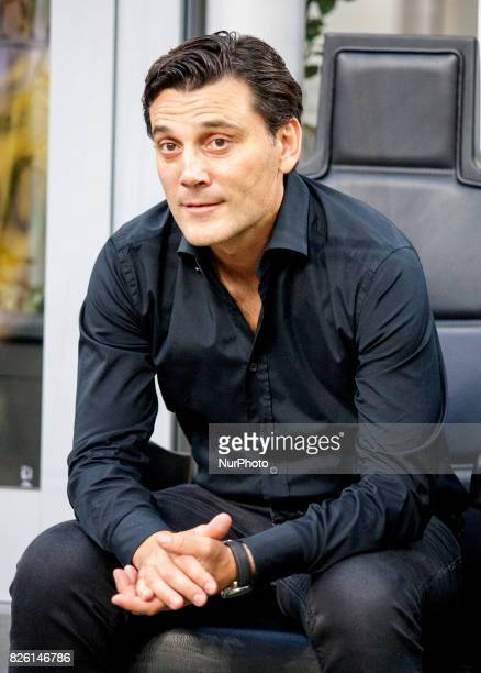 Vincenzo Montella during the preliminaries of Europa League 2017/2018 match between Milan v Craiova in Milan on august 3 2017
