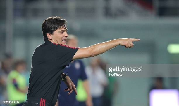 Vincenzo Montella during the Serie A match between FC Crotone and AC Milan on August 20 2017 in Crotone Italy