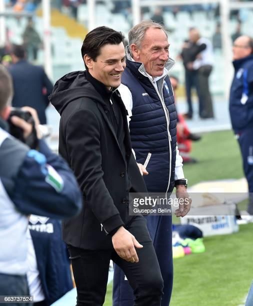Vincenzo Montella head coach of AC Milan and Zdenek Zeman head coach of Pescara Calcio prior the Serie A match between Pescara Calcio and AC Milan at...
