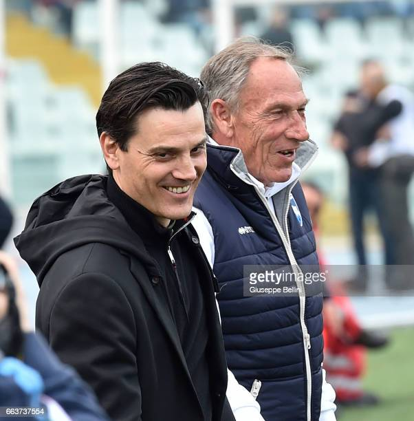Vincenzo Montella head coach of AC Milan and Zdenek Zeman head coach of Pescara Calcio prior the Serie A match between Pescara Calcio and AC Milan at...