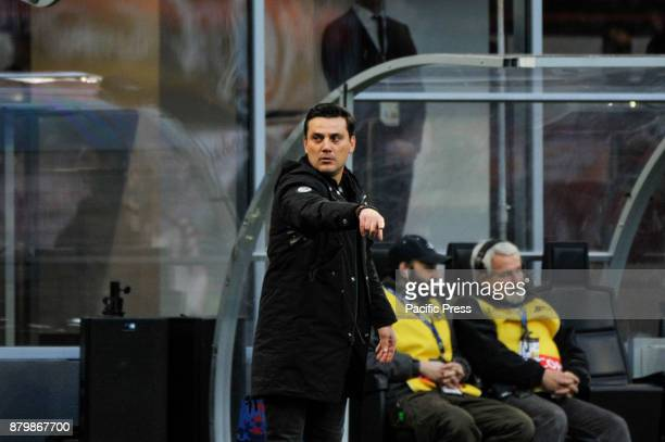 Vincenzo Montella head coach of AC Milan during Italian serie A match AC Milan vs Torino FC at San Siro Stadium The Italian Serie A match between AC...