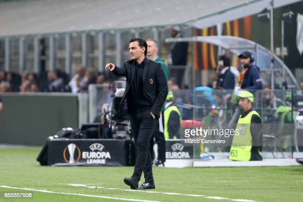 Vincenzo Montella head coach of Ac Milan gestures during the UEFA Europa League group D football match between AC Milan and HNK Rijeka AC Milan wins...