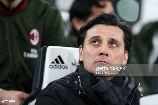 Vincenzo Montella head coach of Ac Milan looks on before the Serie A football match between Juventus FC and Ac Milan at Juventus Stadium Juventus FC...