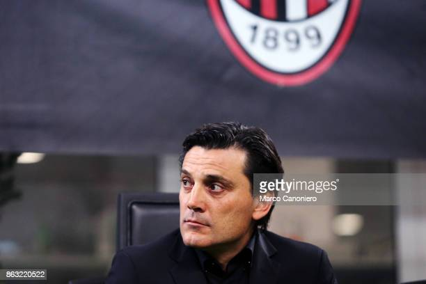 Vincenzo Montella head coach of Ac Milan looks on before the Serie A football match between AC Milan and AEK Athens