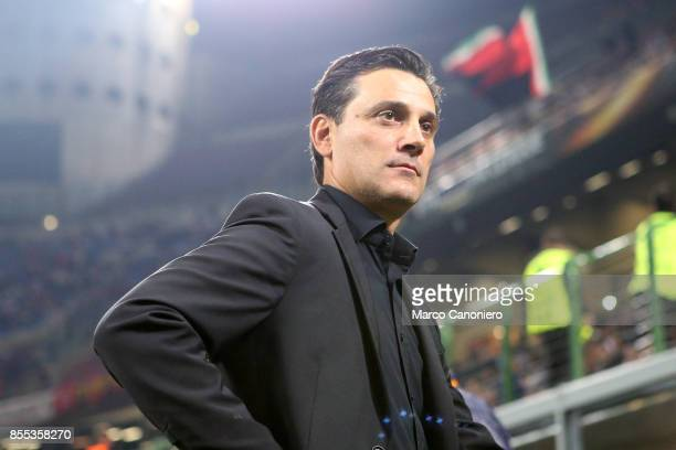 Vincenzo Montella head coach of Ac Milan looks on before the UEFA Europa League group D football match between AC Milan and HNK Rijeka AC Milan wins...