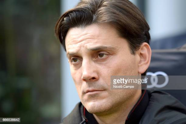 Vincenzo Montella head coach of AC Milan looks on prior the Serie A football match between AC Milan and US Citta di Palermo AC Milan wins 40 over US...