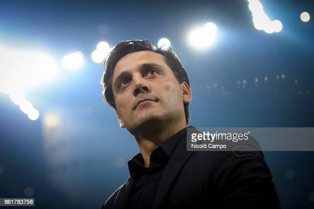 Vincenzo Montella head coach of AC Milan looks on prior to the Serie A football match between FC Internazionale and AC Milan FC Internazionale wins...