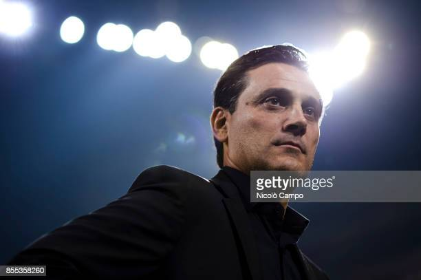 Vincenzo Montella head coach of AC Milan looks on prior to the UEFA Europa League Group D match between AC Milan and HNK Rijeka AC Milan wins 32 over...