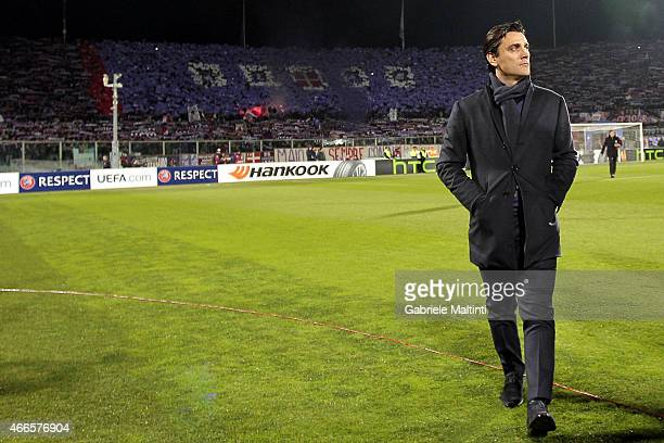 Vincenzo Montella head coach of ACF Fiorentina looks during the UEFA Europa League Round of 16 match between ACF Fiorentina and AS Roma on March 12...