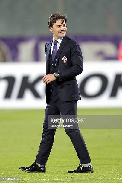 Vincenzo Montella head coach of ACF Fiorentina reacts during the UEFA Europa League Quarter Final match between ACF Fiorentina and FC Dynamo Kyiv on...