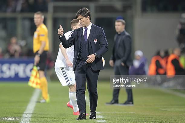 Vincenzo Montella head coach of AFC Fiorentina gestures during the UEFA Europa League Quarter Final match between ACF Fiorentina and FC Dynamo Kyiv...