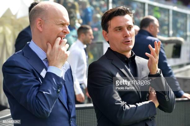 Vincenzo Montella head coach of Milan and Piero Ausilio DS Milan before the Serie A match between UC Sampdoria and AC Milan at Stadio Luigi Ferraris...