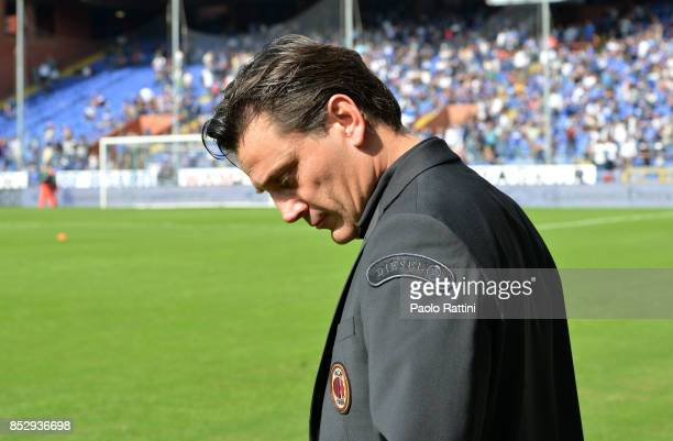 Vincenzo Montella head coach of Milan shows his disappointment during the Serie A match between UC Sampdoria and AC Milan at Stadio Luigi Ferraris on...
