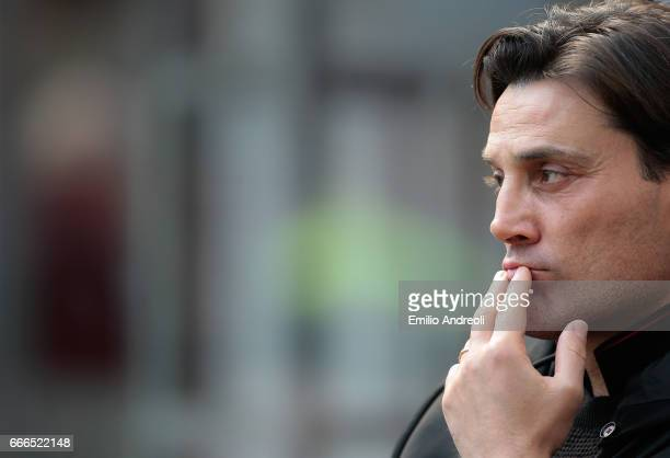 Vincenzo Montella looks on before the Serie A match between AC Milan and US Citta di Palermo at Stadio Giuseppe Meazza on April 9 2017 in Milan Italy