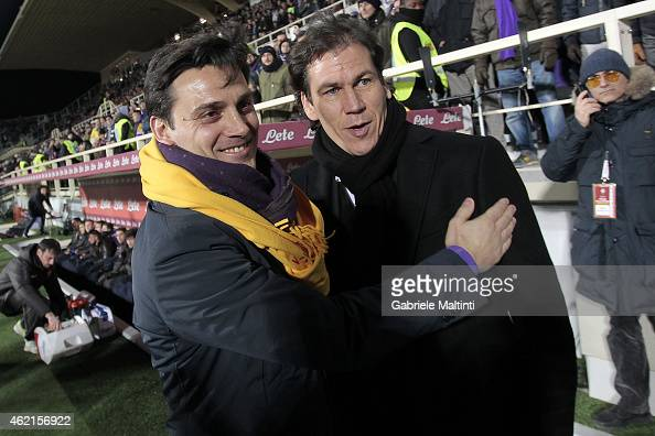Vincenzo Montella magager of ACF Fiorentina and Rudy Garcia manager of AS Roma during the Serie A match between ACF Fiorentina and AS Roma at Stadio...