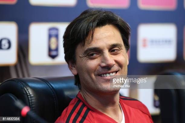 Vincenzo Montella of AC Milan attends Press Conference at University Town Sports Centre Stadium on July 15 2017 in Guangzhou China