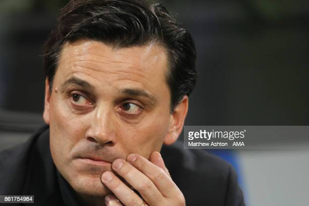 Vincenzo Montella the head coach / manager of AC Milan during to the Serie A match between FC Internazionale and AC Milan at Stadio Giuseppe Meazza...
