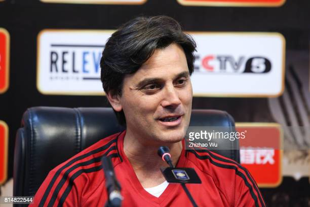 Vincenzo Montellacoach of AC Milan attends Press Conference at University Town Sports Centre Stadium on July 15 2017 in Guangzhou China