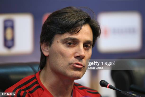 Vincenzo Montellacoach of AC Milan attends the a press conference ahead of the 2017 International Champions Cup football match between AC milan and...