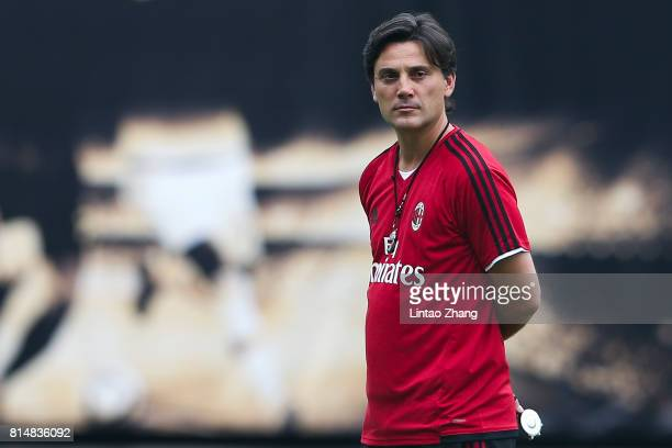 Vincenzo Montellacoach of AC Milan looks on during the AC Milan training session ahead of the 2017 International Champions Cup football match between...
