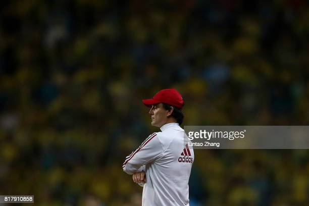 Vincenzo Montellacoach of AC Milan reacts during the 2017 International Champions Cup football match between AC milan and Borussia Dortmund at...