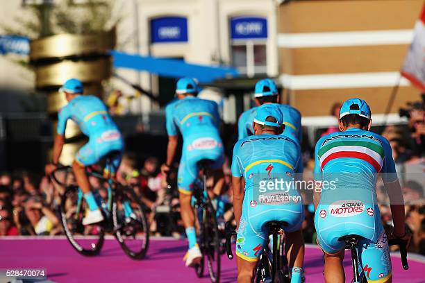 Vincenzo Nibali of Italy and the Astana Pro Team attends the Opening Ceremony and official Team Presentation for the 2016 Giro d'Italia at the City...