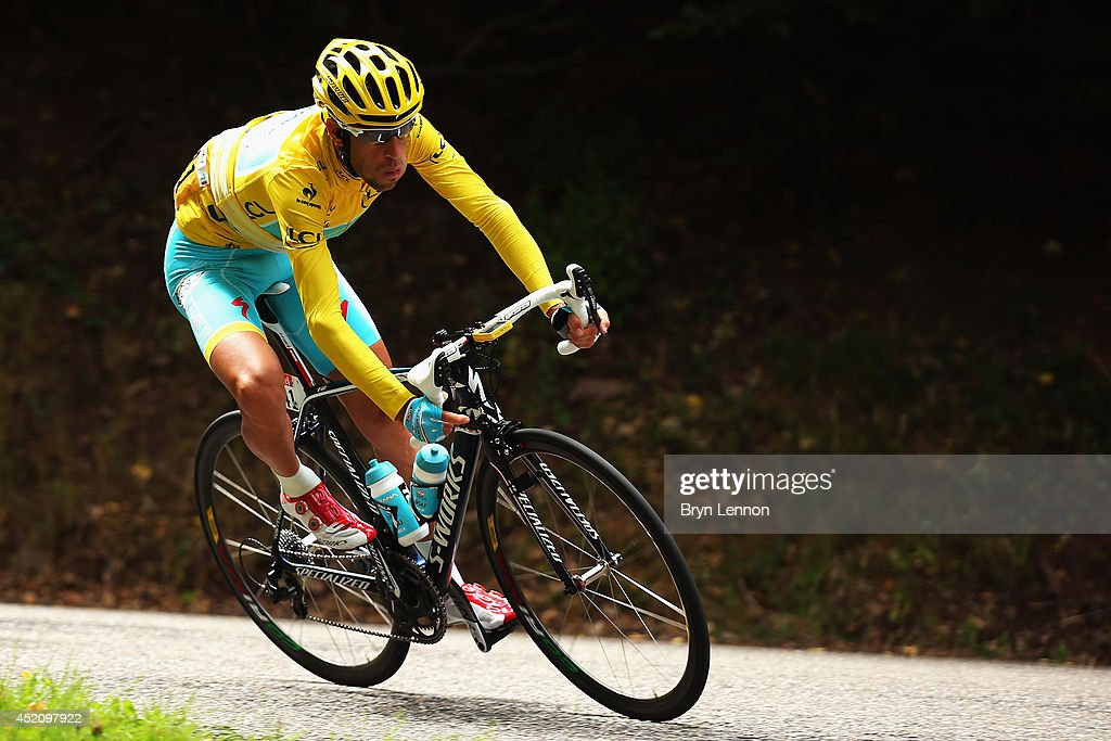 <a gi-track='captionPersonalityLinkClicked' href=/galleries/search?phrase=Vincenzo+Nibali&family=editorial&specificpeople=770634 ng-click='$event.stopPropagation()'>Vincenzo Nibali</a> of Italy and the Astana Pro Team in action during the ninth stage of the 2014 Tour de France, a 170km stage between Gerardmer and Mulhouse, on July 13, 2014 in Mulhouse, France.