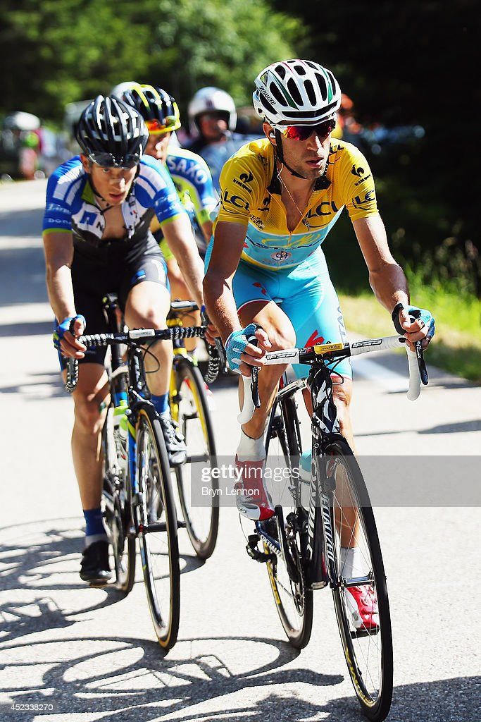<a gi-track='captionPersonalityLinkClicked' href=/galleries/search?phrase=Vincenzo+Nibali&family=editorial&specificpeople=770634 ng-click='$event.stopPropagation()'>Vincenzo Nibali</a> of Italy and the Astana Pro team in action on his way to winning the thirteenth stage of the 2014 Tour de France, a 197km stage between Saint-Etienne and Chamrousse, on July 18, 2014 in Chamrousse, France.