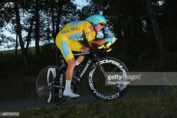 Vincenzo Nibali of Italy and the Astana Pro Team races to fourth place in the individual time trial and defended the overall race leader's jersey...