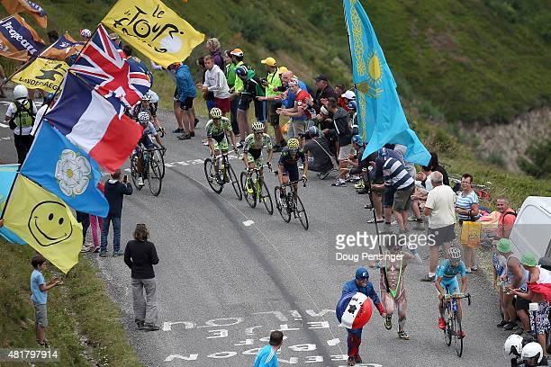 Vincenzo Nibali of Italy riding for Astana Pro Team makes an attack on the group of the yellow jersey on the Col de la Croix de Fer as he would ride...