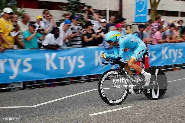 Vincenzo Nibali of Italy riding for Astana races to 22nd place in the individual time trial in stage one of the 2015 Tour de France on July 4 2015 in...