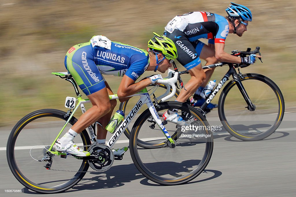<a gi-track='captionPersonalityLinkClicked' href=/galleries/search?phrase=Vincenzo+Nibali&family=editorial&specificpeople=770634 ng-click='$event.stopPropagation()'>Vincenzo Nibali</a> of Italy riding for Liquigas-Cannondale and Dave Zabriskie of the USA riding for Garmin-Sharp descend the Cerro Summit as they ride in the breakaway during stage two of the USA Pro Challenge from Montrose to Crested Butte on August 21, 2012 in Cimarron, Colorado.