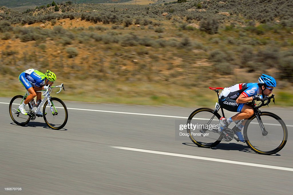 <a gi-track='captionPersonalityLinkClicked' href=/galleries/search?phrase=Vincenzo+Nibali&family=editorial&specificpeople=770634 ng-click='$event.stopPropagation()'>Vincenzo Nibali</a> of Italy riding for Liquigas-Cannondale chases Dave Zabriskie of the USA riding for Garmin-Sharp on the descent the Cerro Summit as they ride in the breakaway during stage two of the USA Pro Challenge from Montrose to Crested Butte on August 21, 2012 in Cimarron, Colorado.
