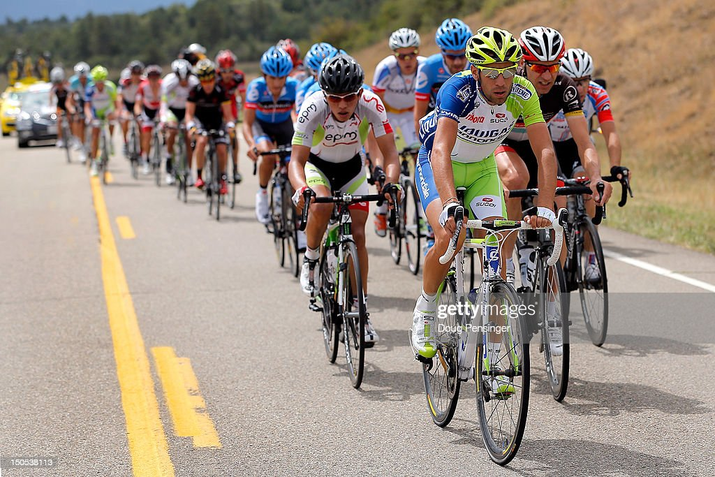 <a gi-track='captionPersonalityLinkClicked' href=/galleries/search?phrase=Vincenzo+Nibali&family=editorial&specificpeople=770634 ng-click='$event.stopPropagation()'>Vincenzo Nibali</a> of Italy riding for Liquigas-Cannondale rides at the front of the breakaway during stage one of the USA Pro Challenge from Durango to Telluride on August 20, 2012 in Montezuma County, Colorado.