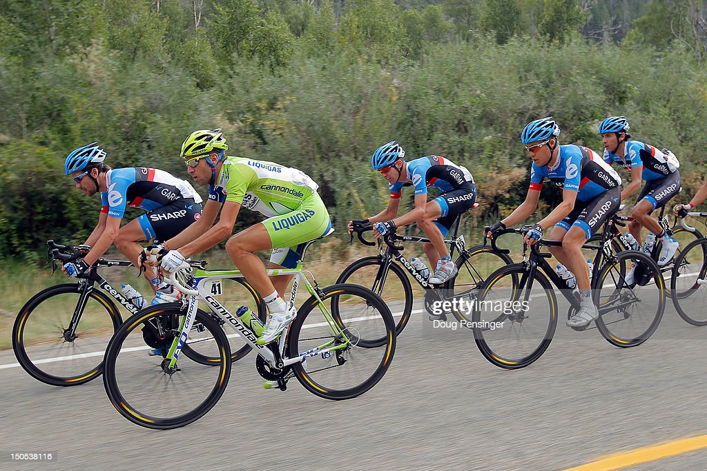 <a gi-track='captionPersonalityLinkClicked' href=/galleries/search?phrase=Vincenzo+Nibali&family=editorial&specificpeople=770634 ng-click='$event.stopPropagation()'>Vincenzo Nibali</a> (2L) of Italy riding for Liquigas-Cannondale rides in the breakaway with Garmin-Sharp riders <a gi-track='captionPersonalityLinkClicked' href=/galleries/search?phrase=David+Zabriskie&family=editorial&specificpeople=560617 ng-click='$event.stopPropagation()'>David Zabriskie</a> (L) of the USA, Peter Stetina (C) of the USA, <a gi-track='captionPersonalityLinkClicked' href=/galleries/search?phrase=Tom+Danielson&family=editorial&specificpeople=224809 ng-click='$event.stopPropagation()'>Tom Danielson</a> (2R) of the USA and Lachlan Morton of Australia during stage one of the USA Pro Challenge from Durango to Telluride on August 20, 2012 in Montezuma County, Colorado.