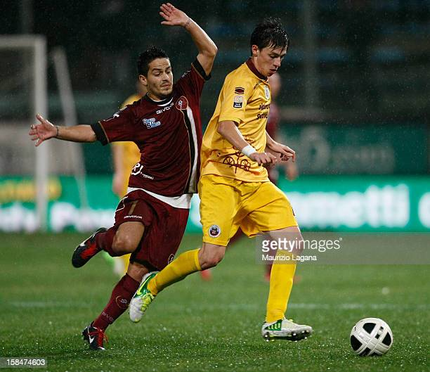 Vincenzo Sarno of Reggina competes for the ball with Danile Baselli of Cittadella during the Serie B match between Reggina Calcio and AS Cittadella...