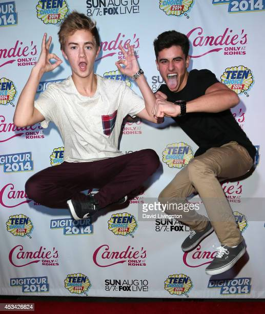Vine stars Jack Johnson and Jack Gilinsky attend the Teen Choice 2014 Awards Official PreParty hosted by DigiTour at Gibson Guitar Entertainment...