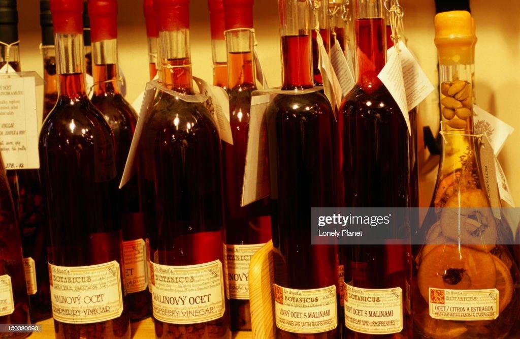 Vinegar in Botanicus shop in Ungelt. : Stock Photo