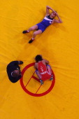 Vinesh of India beats Yana Rattigan of England in the 48kg Freestyle Wrestling Gold medal match at Scottish Exhibition And Conference Centre during...