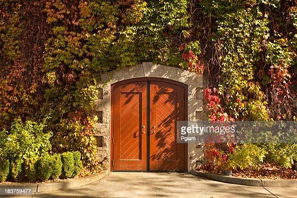 Vineyard doorway in autumn