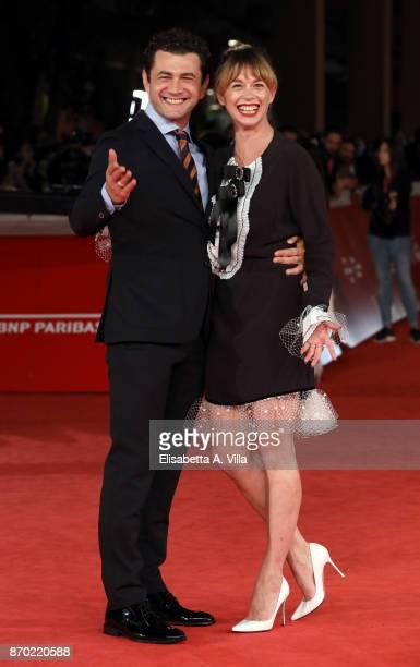 Vinicio Marchioni and Milena Mancini walk a red carpet for 'The Place' during the 12th Rome Film Fest at Auditorium Parco Della Musica on November 4...