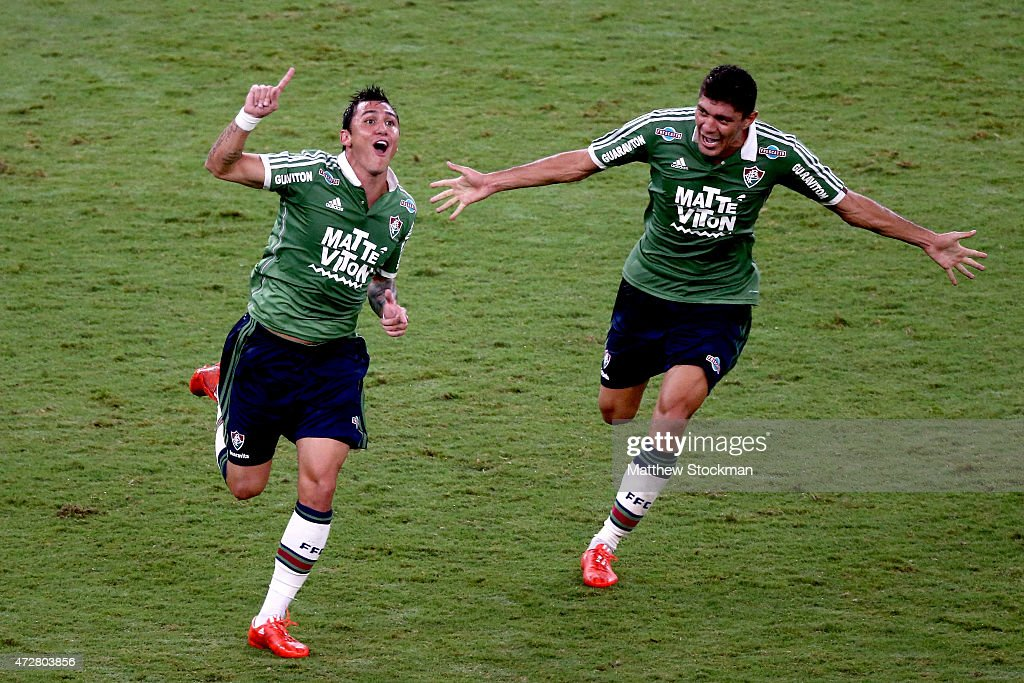 Vinicius and Edson celebrate Fluminense's only goal during the Brasileirao Series A 2015 match against Joinville at Maracana Stadium on May 9 2015 in...