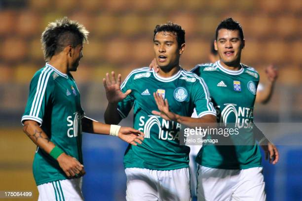 Vinicius and his teammates of Palmeiras celebrates a goal against Icasa during a match between Palmeiras and Icasa as part of the Brazilian...