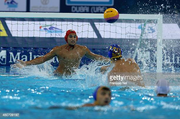 Vinicius Antonelli of Brazil attempts to make a save during the Fina Men's Water Polo World League Super Final Group Match between Montenegro and...