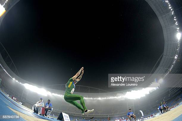 Vinicius Goncalves Rodrigues competes the Men's Long Junp T44 Final during the Paralympics Athletics Grand Prix Aquece Rio Test Event for the Rio...