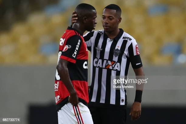 Vinicius Jr of Flamengo greets Robinho of Atletico MG after a match between Flamengo and Atletico MG part of Brasileirao Series A 2017 at Maracana...