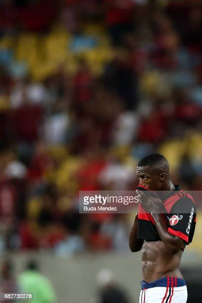 Vinicius Jr of Flamengo reacts after a match between Flamengo and Atletico MG part of Brasileirao Series A 2017 at Maracana Stadium on May 13 2017 in...