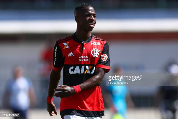 Vinicius Jr of Flamengo smiles during a match between Flamengo and Vitoria as part of Brasileirao Series A 2017 at Ilha do Urubu Stadium on August 6...