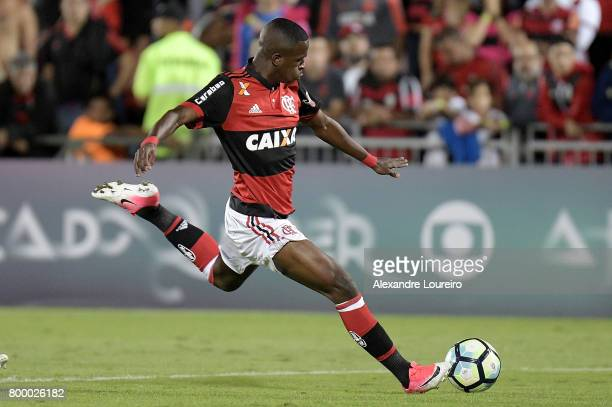 Vinicius Jr of Flamengo in action during the match between Flamengo and Chapecoense as part of Brasileirao Series A 2017 at Ilha do Urubu Stadium on...